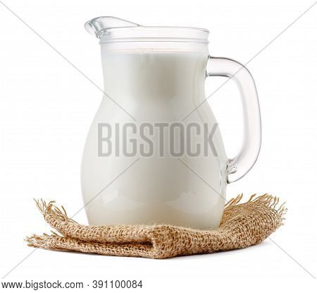 Glass Milk Jar Isolated On White Background