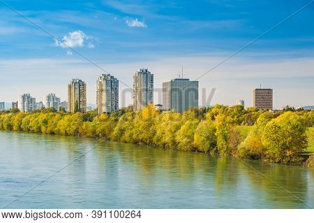 Croatia, City Of Zagreb, Sava River And Modern Towers Skyline In Autumn