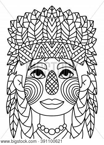 Funny Native American Girl Coloring Page Stock Vector Illustration. Happy Thankgiving Day Indian Gir
