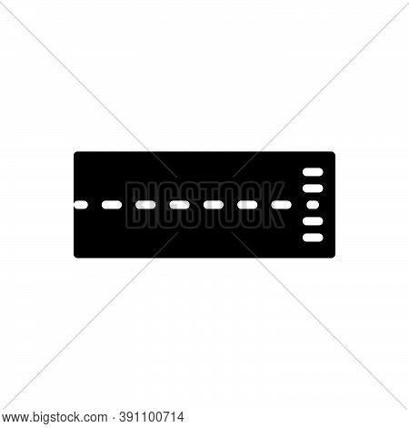 Black Solid Icon For Line Finish Track Underline Streak Boundary Borderline