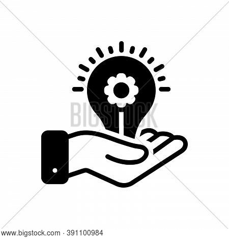 Black Solid Icon For Provider Manufacturer Supplier Donor Light-bulb Intuition Electricity