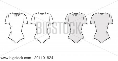 Stretch-jersey Bodysuit Technical Fashion Illustration With Crew Neck, Short Sleeves, Fitted Body. F