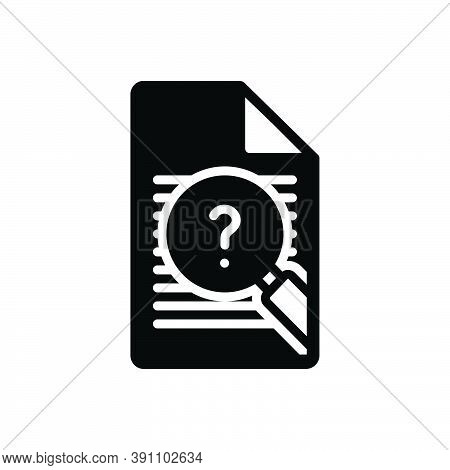 Black Solid Icon For Inquiry Inspection Survey Investigation Examination Checkout Analysis
