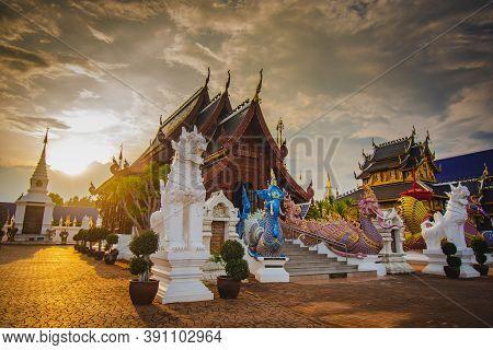 Chiang Mai, Thailand - 5 September 2020: Densalee Sri Muang Temple Or Ban Den Temple, Chiang Mai Chi