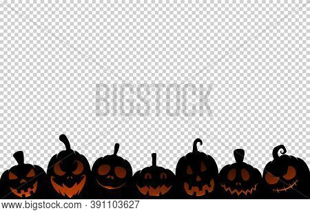 Halloween Party Banner  With Black Scary Pumpkin Face Isolated On  Png Or Transparent Background, Sp