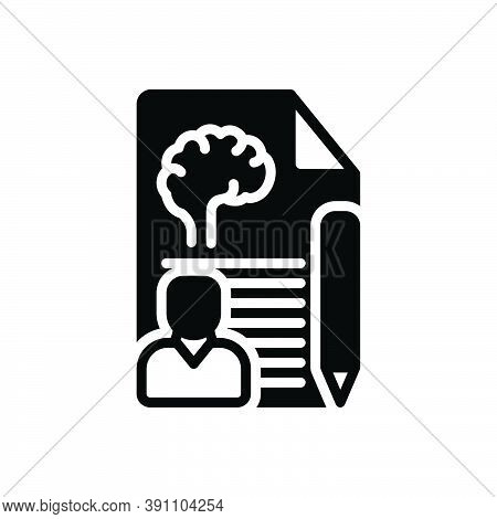Black Solid Icon For Psychologist Psych Brain Neurology Memories Counseling Report Description