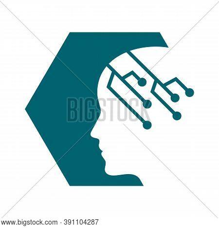 Machine Learning Logo Design Vector Illustrations Brain Ai Technology Human Template