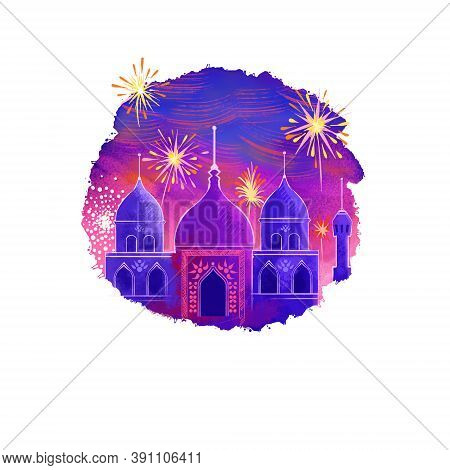 Happy Diwali Digital Art Illustration Isolated On White Background. Hindus Festival Of Lights. Deepa