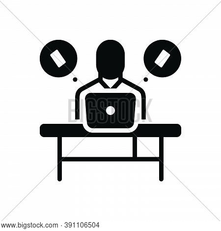 Black Solid Icon For Insist Work Desk Laptop Assert Contend Demand Maintain Phone Call Communication