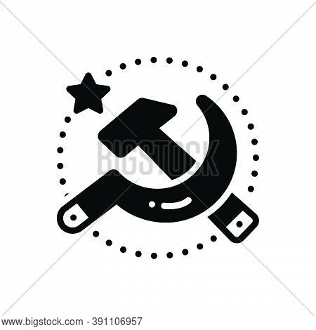 Black Solid Icon For Soviet Communist Union Sickle Country Emblem Socialist Revolution