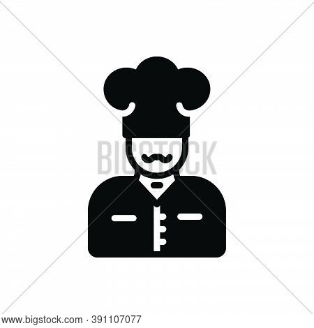Black Solid Icon For Chef Kitchen Cooker Restaurant Baker Cap Catering Gourment Professional Masterc
