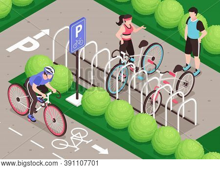 Isometric Bicycle Parking Composition With Outdoor Scenery Bike Path Human Characters And Rack For P