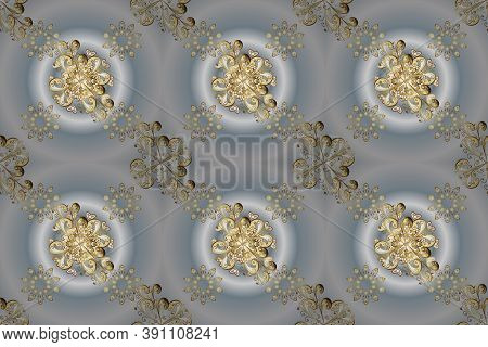 Golden Element On Gray And Neutral Colors. Damask Background. Gold Gray And Neutral Floral Ornament