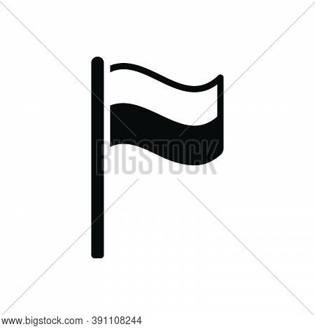 Black Solid Icon For Flag Indicate Mark Nation Identify Waving Banner Location