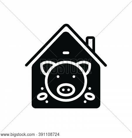 Black Solid Icon For Pig-in-pigsty Pig Boar Abundance Animal Family Farm Meat Butcher Hoofed