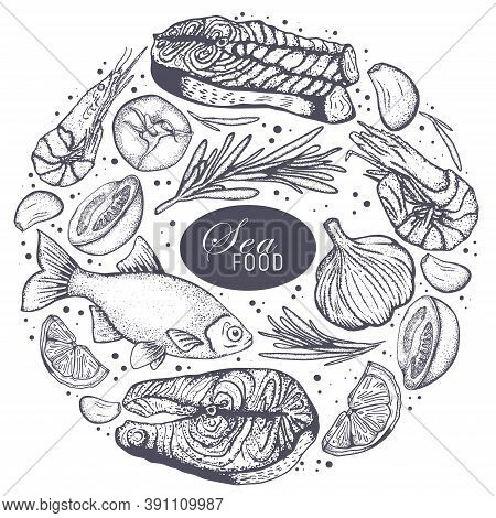 Seafood Restaurant Sketch Poster For Menu Or Tablemat Template. Vector Pattern Background Of Seafood