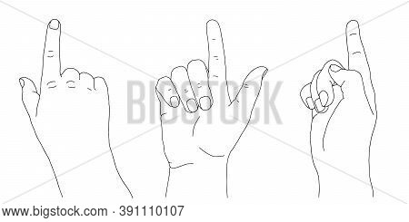 Black Outline Of Human Young Adult Hand Raising And Lifting Index Finger Up. One, Weak, Relaxed Gest