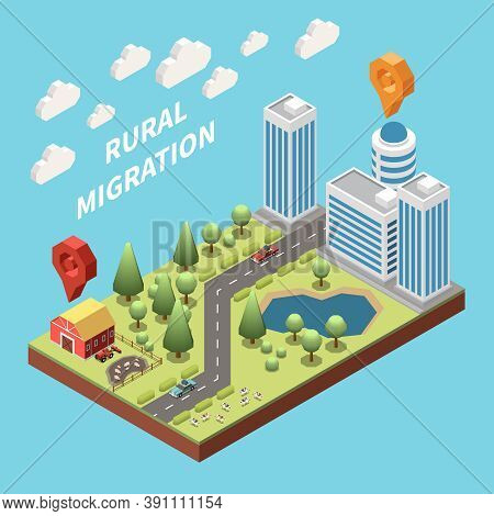 Population Mobility Migration Displacement Isometric Composition With Deruralization Images Rural An