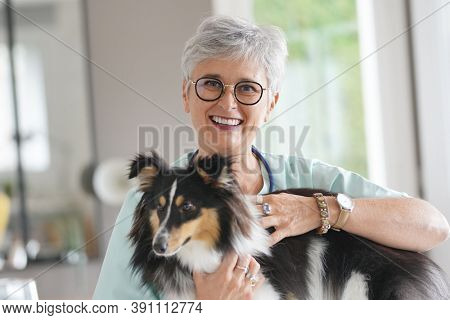 Cheerful veterinarian woman with dog