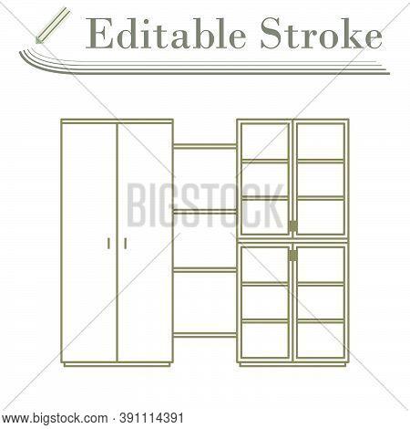 Office Cabinet Icon. Editable Stroke Simple Design. Vector Illustration.