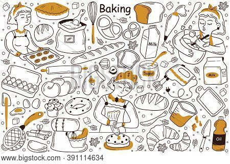 Baking Doodle Set. Collection Of Hand Drawn Templates Patterns Sketches Of Cooker Chef Baker Cooking