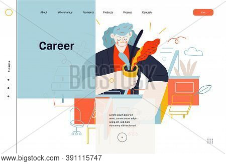 Business Topics - Office Management, Web Header. Flat Style Modern Outlined Vector Concept Illustrat