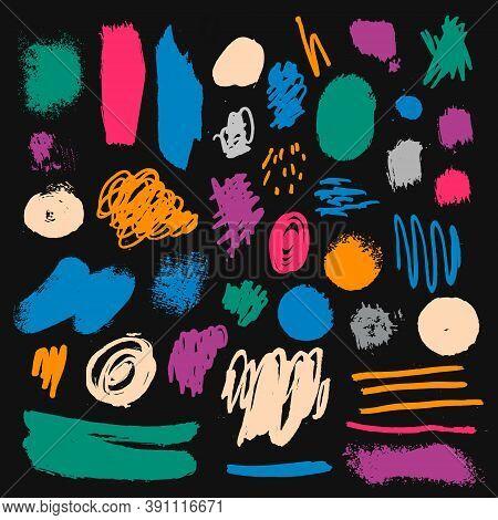 Vector Set Of Brush Strokes, Colorful Splashes. Brush, Pen, Marker, Chalk. Abstract Grunge Modern Te