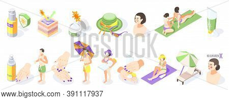 Sunscreen Isometric Recolor Set Of Isolated Sun Protection Products Sunburn Creams And People On Bla