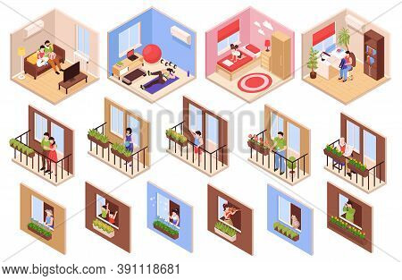 Neighbors Icons Set With Lovely Neighborhood In Town Symbols Isometric Isolated Vector Illustration