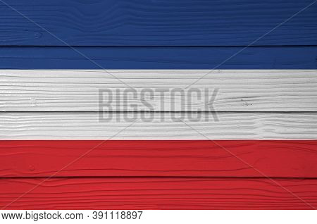 Yugoslavia (1918-1941) Flag Color Painted On Fiber Cement Sheet Wall Background. A Horizontal Triban