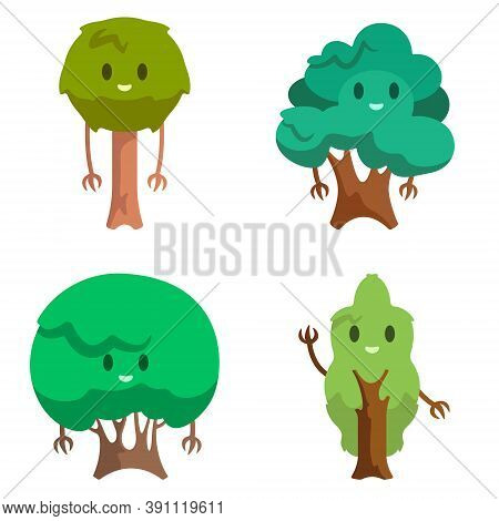 Set Of Different Anthropomorphic Trees. Funny Characters In Cartoon Style.