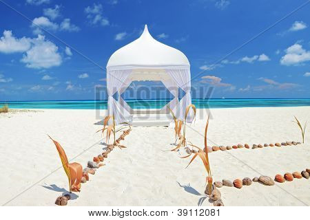 Wedding tent on a beach at Kuredu island, Maldives, Lhaviyani atoll