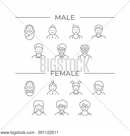 Set Line Icons Of Male Age Isolated On White. Baby, Toddler, Boy, Girl, Child, Teenager, Man, Woman,