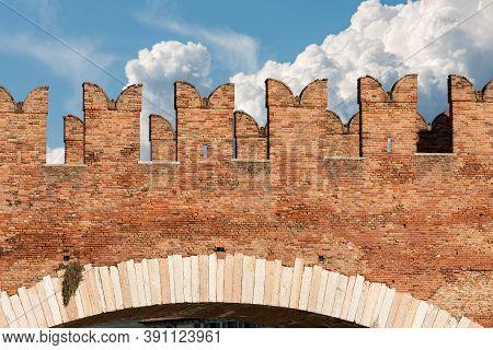 Detail Of The Ancient Bridge (ponte Scaligero) Near Castelvecchio (old Castle) In Verona Downtown, U