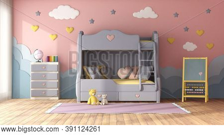 Pastel Color Children Room With Bunk Bed,decor Objects On Blue Wall ,chest Of Drawer And Blackboard