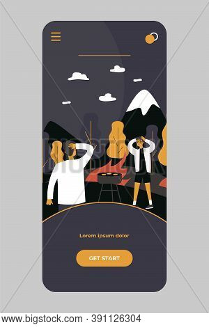 People Causing Forest Fire. Scared Men Holding Picnic Among Flame Flat Vector Illustration. Danger,