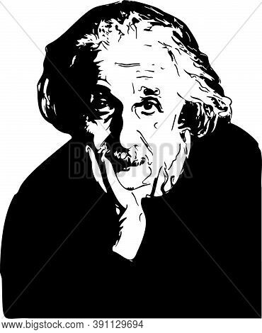 Vector Portrait Of Albert Einstein. Albert Einstein (1879 - 1955) Was A German-born Theoretical Phys