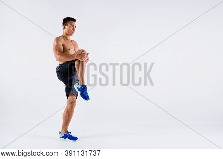 Full Body Profile Photo Of Handsome Macho Sportsman Dark Skin Guy Naked Chest Warming Up Exercise Fo