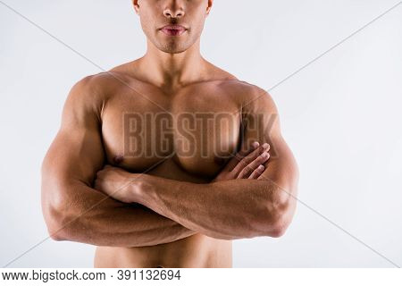 Cropped Close-up View Portrait Of His He Nice Attractive Successful Strong Content Tanned Guy Ripped