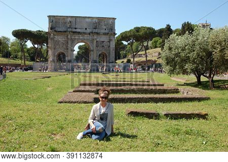 Young Girl, Glasses, Ancient Architecture, Trees, Green Lawn, City Landscape Summer Day Tourism