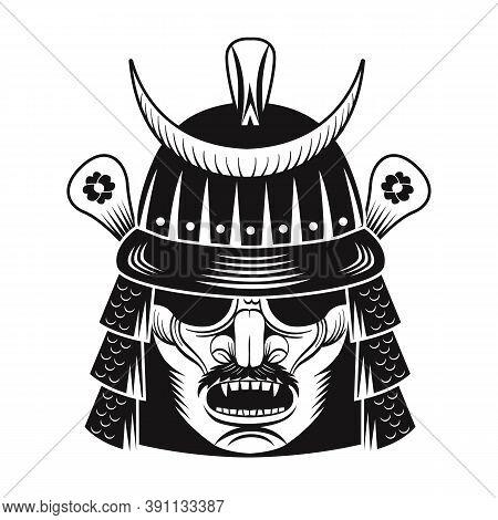 Japanese Warrior Black Mask Flat Image. Japan Samurai. Vintage Vector Illustration. Military Art And