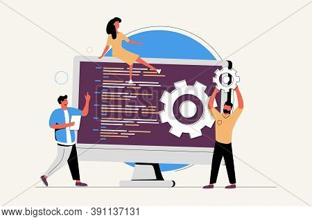 Software Development Team Website Ui Kit. Remote Teamwork, Digital Team On Demand, Professional, Cer