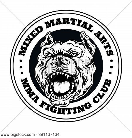 Fight Club Emblem With Angry Dog. Kickboxing And Fighting Club Logo With Angry Dog. Isolated Vector