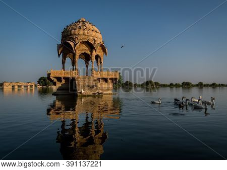 Old Historical Cenotaph Built In The Middle Of A Lake In Jaisalmer, Famous Tourist Spot In Jaisalmer