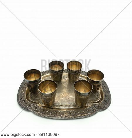 Set Of Antique Silver Items. There Are Six Glasses On An Elegant Tray. Decoration - Ornaments On Asi