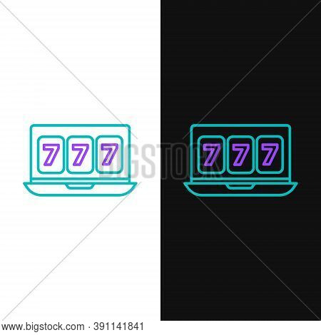 Line Online Slot Machine With Lucky Sevens Jackpot Icon Isolated On White And Black Background. Onli