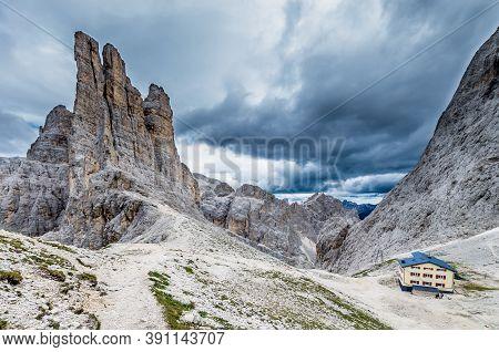 Torri Vajolet In Rosengarten Catinaccio Massif. Beautiful View In Dolomites Mountains, Alto Adige, S