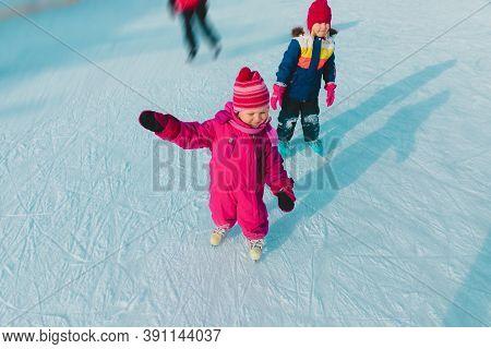 Little Girls Skating In Winter, Family Sport