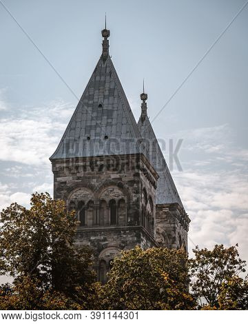 The Two Sandstone Steeples Of Lund Cathedral On A Beautiful Autumn Day