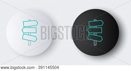 Line Road Traffic Sign. Signpost Icon Isolated On Grey Background. Pointer Symbol. Street Informatio
